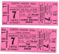 James Brown Concert Ticket Number Sequence, Piece Of Music, James Brown, Concert Tickets, Better One, The Fool, Stock Photos, The Originals