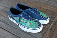 0533a0a85c Items similar to Peacock Feather Navy Authentic Vans shoes on Etsy