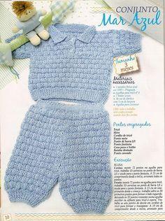 Receita de Tricô: Conjunto em trico com gola polo
