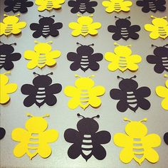 "40 Bumble Bee Die Cuts - 2"" - Black & Yellow  - confetti, card making, scrapbooking, table scatter, DIY craft projects"