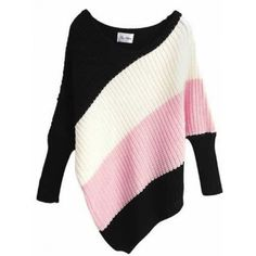 Euro Style Stripe Bat-wing Sleeve Off the Shoulder Loose Pink... ($15) ❤ liked on Polyvore