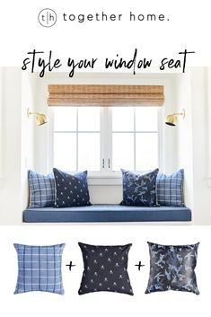 We love styling window seats with luxurious pillows. Pictured here skull pillow cover, blue camo leather cover, and indigo plaid cover. Window Seat Kitchen, Window Seats, Blue Pillows, Throw Pillows, Skull Pillow, Blue Camo, Leather Cover, Playroom, Decorative Pillows