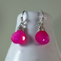 Hot Pinkfuchsia Chalcedony Drop By Saranoltedesign On Etsy Earringshot Pink