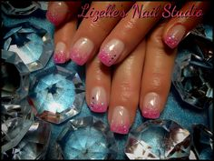 Hot pink glitter tips with gems on accent nails.  Hand-painted nail art. Sculpted gel nails. www.facebook.com/LizellesGelNails