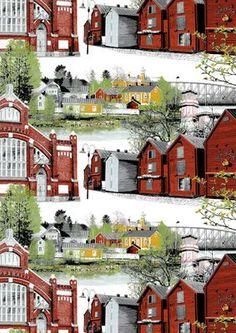 Oulu saa oman Vallila-kankaan – kuosissa kauppahalli, torin makasiinit ja Pikisaari | Oulu | Kaleva.fi Finland, Past, Cabin, Interior Design, House Styles, City, Painting, Beautiful, Towels