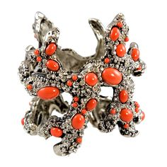 Valentino Coral Runway Cuff by Valentino | From a unique collection of vintage cuff bracelets at https://www.1stdibs.com/jewelry/bracelets/cuff-bracelets/