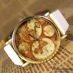 Big Sale Off,World Map Watch Unisex Watches Fashion Watch Mens wristwatches Women Watches Boyfriend Gift The best Christmas Gift Watch SD001