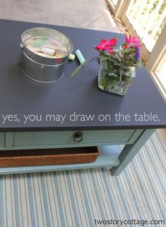 Chalkboard paint on a table top! Perfect for the kids and never having to worry about them ruining the table.