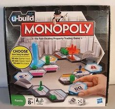 cool Family Fun~U-Build Monopoly Board Game With a Twist~By Hasbro - For Sale