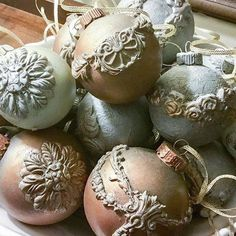 Love these ornaments! The moulds look great: ・・・ Sneak peek at some of the things I've been working on for our space at The Truffle Pig Holiday Open House next Thursday, Please stop by and see us! Christmas Ornaments To Make, Clay Ornaments, Christmas Balls, Christmas Projects, Christmas Home, Holiday Crafts, Christmas Holidays, Christmas Decorations, Annie Sloan Wax