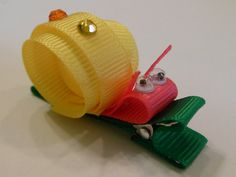 Pink/Yellow Snail Hair Clip with Rhinestones