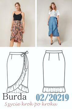 Spódnica kopertowa z falbaną. Darmowy wykrój! Burda Patterns, Strapless Dress, Dresses, Fashion, Strapless Gown, Vestidos, Moda, Fashion Styles, Dress