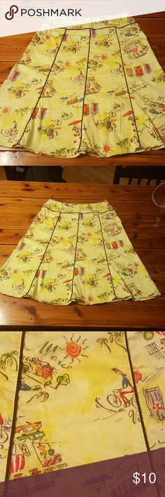 SALE!! Yellow print skirt Below the knee skirt with drawings.  Fits like a 6/8.  Side zipper. Elementz Skirts Midi