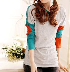 Round Neck Long Sleeved Color Block Gray Cotton T-shirt