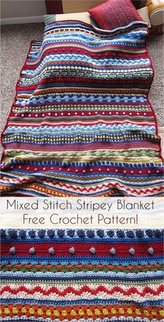 Crochet Afghan Patterns [Free Pattern] Mixed Stitch Stripey Crochet Blanket scrap blanket - This is a blanket that is made with many different stitch patterns so it doesn't get boring Scrap Yarn Crochet, Love Crochet, Crochet Crafts, Crochet Projects, Crochet Ideas, Crochet Afghans, Crochet Stitches Patterns, Stitch Patterns, Blanket Crochet