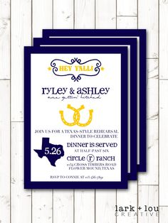 Really cool potluck invitation wordings you can choose from texas themed western rehearsal dinner invitations digital and printed invites with envelopes stopboris Images