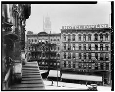 6.  Photocopy of Photograph, 1908 (original in the collections of Manning Brothers Commercial Photographers, Madison Heights, Michigan). VIEW SOUTHEAST, NORTHWEST FRONT OF SECOND WILLIAMS BLOCK (HOTEL FOWLER) ON RIGHT AND FIRST WILLIAMS BLOCK (LEFT) - 16-30 Monroe Avenue (Commercial Building), Detroit, MI