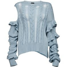 Magda Butrym     Exposed Shoulder Ruffled Sweater (€1.190) ❤ liked on Polyvore featuring tops, sweaters, blue, ripped sweater, blue sweater, ruffle trim sweater, ruffle sweater and crew top