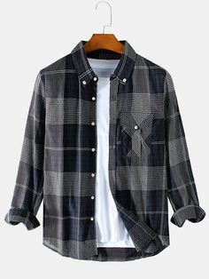 ChArmkpR Mens British Style Plaid Chest Pocket Long Sleeve Shirts is designer and cheap on Newchic. New Outfits, Casual Outfits, Camisa Floral, Plaid Fashion, Alternative Outfits, Cotton Style, British Style, Streetwear Fashion, Aesthetic Clothes