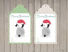 Kerst cadeau label  baby pinguïn van SophiesLoveBirds op Etsy