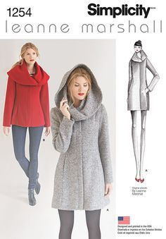 New and uncut paper sewing pattern. This Easy-to-Sew lined coat or jacket from Leanne Marshall is sure to be a hit. Over sizes collar can be worn like a shawl or a hood for extra warmth and great winter style. Leanne Marshall for Simplicity. Coat Pattern Sewing, Coat Patterns, Jacket Pattern, Clothing Patterns, Dress Patterns, Hood Pattern, Pattern Drafting, Style Patterns, Diy Clothing