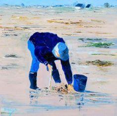 Peinture de Chantal  Urquiza: PÉCHEUR A PIED