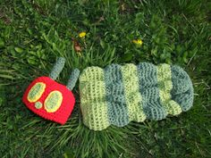 very hungry caterpillar crochet Cocoon and hat by jesusfreak04ever, $30.00