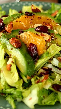 Avocado and Orange Chopped Salad with Orange Honey Mustard Dressing Mmm #paleo #avocado ideas and recipes!!