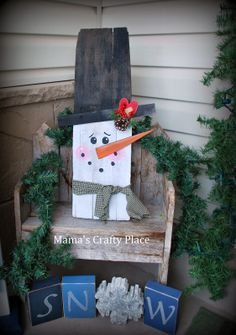 Snowman from Old Wood Board