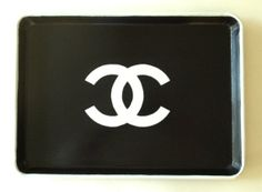Easy DIY: Chanel Perfume Tray Things Needed - Black or white serving tray and black or white Chanel logo decal from amazon or ebay