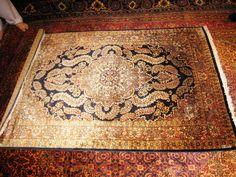 PERSIAN CARPET Oriental rug genuine kashmir pakistan india 4x6 hand knotted 100% silk kashmiri brand new bedroom 700 kpsi navy blue fine