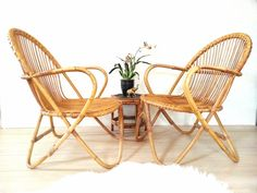 Pair Bamboo Chairs ~ Franco Albini Style Vintage Mid Century Rattan/ Bamboo/ Wicker Chair