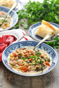 This Tuscan White Bean Soup with Sausage and Kale is a healthy, filling and easy dinner recipe for chilly nights! Pair it with a loaf of warm, crusty bread for a hearty, affordable and satisfying meal. White Bean Soup, White Beans, Healthy Soup Recipes, Healthy Dinner Recipes, Turkey Noodle Soup, Slow Cooker Times, Soups And Stews, Kale, Food Processor Recipes