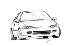 Honda Civic Eg Hatch Sketch by TwinFlow.deviantart.com on @DeviantArt