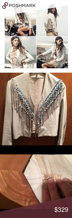 SPELL DESIGNS HENDRIX FRINGED BEADS LEATHER JACKET Rare sold out Hendrix leather jacket from Spell Designs ( was also sold at Free People) in white leather with blue beading  This is size S/M and, since these ran small, it fits more like a Small or even XS  The leather is fine, fringe is fine, beading is intact.  However, please note that the lining is soiled pretty much throughout  (photos are provided) and there is one tiny area on the stitching part of the lapel which looks like pink…
