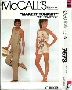 ed48a5f512 VTG McCall s 7573 Misses Make it Tonight Jumpsuit Pattern