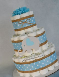 Elephant Diaper Cake/ Blue Gray/ Elephant Baby shower/ little peanut/ elephant cake/ Its a boy/ polka dot/ unique diaper cake/ burlap diaper cake/ gift for baby boy/ baby boy gifts/ mommy to be/ diaper cake for boys/ diaper cake  by LittleOrchidStudio