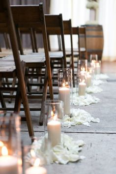Loving these simple wood ceremony chairs. A nice complement to the wood wine barrels! {Brooklyn Winery}