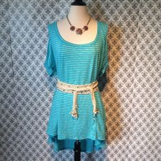 Torrid Mint Blue Open Shoulder Tunic Top NWT Sz Shoulder top minty blue and white small horizontal strips/ From Boutique NWT Sz 3X Plus Boutique  Tops Tunics