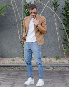 Light Blue Denim & Brown Leather Jacket Combination with White Tees