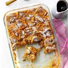 Overnight Pumpkin French Toast Casserole Recipe from Taste of Home