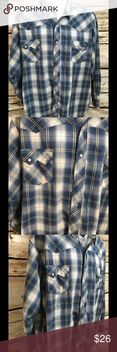 """Wrangler Men's 3XL Western Pearl Snap Shirt Long Sleeve Light Weight Pearl Snap Blue/White Check Chest - 32"""" (doubled 64"""") Shoulders - 23"""" Length - 31"""" Wrangler Shirts"""
