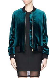 Sandro Ventura Velvet Bomber Jacket in Green (Blue and Green) - I have this color too Look Fashion, Womens Fashion, Fashion Design, Velvet Bomber Jacket, Cargo Jacket, Leather Jacket, Padded Jacket, Velvet Fashion, Mode Hijab