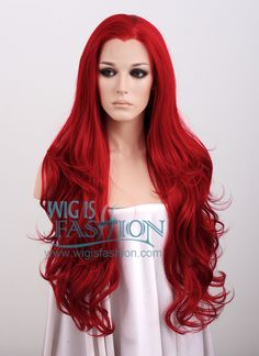 """26"""" Long Curly Red Lace Front Synthetic Fashion Wig LF353 - Wig Is Fashion"""