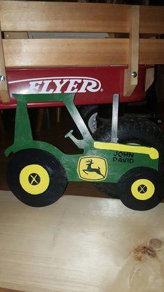 John Deere painted wooden tractor