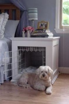 Scour thrift stores for old night stands or end tables. Repurpose them for Fido. Makes a kennel so much more attractive.