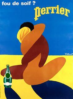 Perrier Art Poster Print by Bernard Villemot, Art Prints, Art Deco Posters, Vintage Advertisements, Vintage Art, Art Print Display, Art, Vintage Poster Art, Poster Design, Vintage
