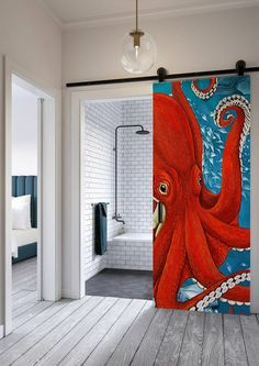 papier-peint-salle-de-bain-octopus Decor, Furniture, Design Inspiration, Room, Home, Throw Blanket, Deco, New Homes, Home Deco