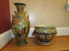 "Vintage Satsuma pottery including vase 17.75""T and jardinière 8.25""Tx10.5""W."