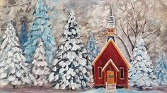 2:44:09 Snowy Church Landscape Winter Acrylic Painting Tutorial LIVE